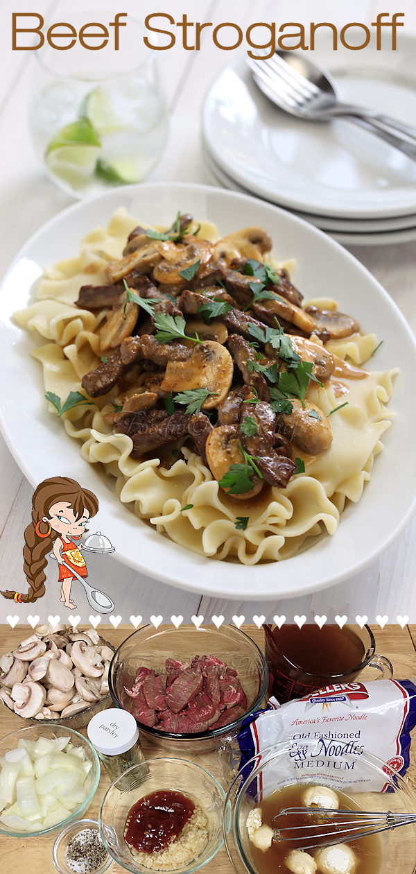 This rich & creamy Beef Stroganoff by Foodie Home Chef is a true comfort food & was one of my daughter's favorite recipes growing up. I've served this hundreds of times, to countless numbers of people, in the past 40 years & have always gotten rave reviews... even if you have other beef stroganoff recipes, give this one a try, you & your whole family will love it! Beef Stroganoff | Stroganoff Recipes | Beef Recipes | Meat Recipes | Comfort Food | Family Recipes | #foodiehomechef @foodiehomechef