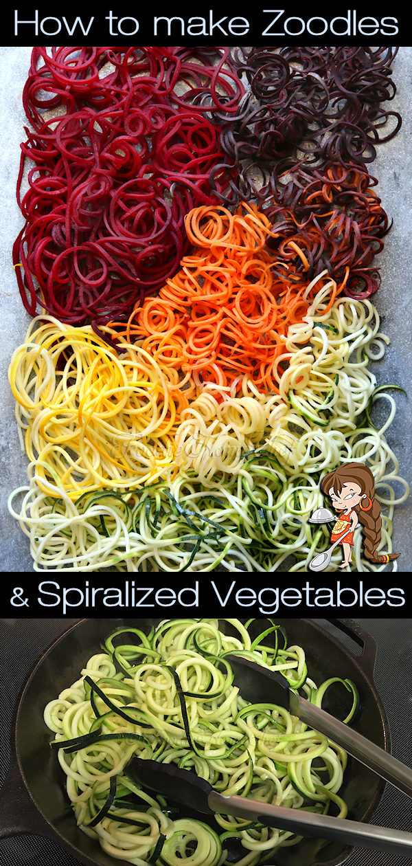 Most people these days know what Zoodles are & how healthy they are when you use them in place of pasta. Did you know that you can make spiralized noodles out of other vegetables too? Once you try them you'll be making Oodles of Zoodles and other spiralized vegetables all the time & your kids will love 'em too! Zoodles | Zucchini Noodles | Spiralized Vegetables | Vegetable Noodles | Vegan Recipes | Keto Recipes | Gluten Free Recipes | #foodiehomechef @foodiehomechef