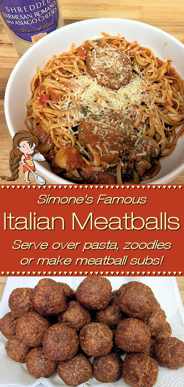 This Signature Recipe by Foodie Home Chef has been touted & made famous by those who've eaten them (for 40+ years) as the best meatballs to ever grace a plate of pasta! Simmer on low for a couple of hours in your favorite pasta sauce. Serve over your favorite pasta, zoodles or make meatball subs & you'll be in Italian heaven! Meatball Recipes | Meatballs | Italian Meatballs | Homemade Meatballs | Italian Food | Italian Recipes | Dinner Recipes | Comfort Food | #foodiehomechef | @foodiehomechef