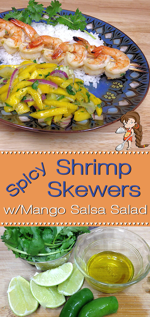 Looking for something a little different for dinner? Spicy Shrimp Skewers by Foodie Home Chef fits the bill. Throw 'em on the grill or broil in the oven, no matter how you prepare them, they're seriously delicious! Included is a recipe for Mango Salsa Salad that pairs up perfectly with this fabulous dish!  Shrimp Skewers | Shrimp Recipes | Grilled Shrimp | Broiled Shrimp | Seafood Recipes | Sheet Pan Recipes | Mango Salsa | Salsa Recipes | Mexican Recipes | #foodiehomechef @foodiehomechef