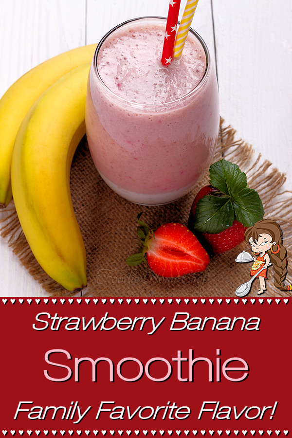 This Strawberry Banana Smoothie by Foodie Home Chef is one of the easiest smoothies to make. It has only a few ingredients, but it's super delicious & I've never met anyone who doesn't love this smoothie flavor... even the kids! Whip up one of these smoothies for an easy breakfast, anytime snack, after a workout or even as a healthy dessert! Strawberry Banana Smoothie | Smoothie Recipes | Breakfast Smoothie | Healthy Snack Recipes | Healthy Dessert Recipes | #foodiehomechef @foodiehomechef