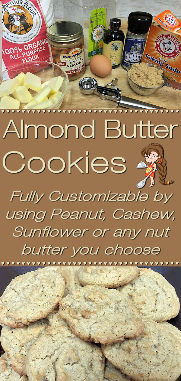 Almond Butter Cookies by Foodie Home Chef are made with organic ingredients & are totally customizable. Instead of Almond Butter you can use Peanut, Cashew, Sunflower or any nut butter you like. Your whole family will love these, so double or triple the recipe & freeze them, so you'll always have some on hand for a cookie craving! Almond Butter Cookies | Cookie Recipes | Healthy Cookies | Peanut Butter Cookies | Desserts | Snacks | #foodiehomechef @foodiehomechef